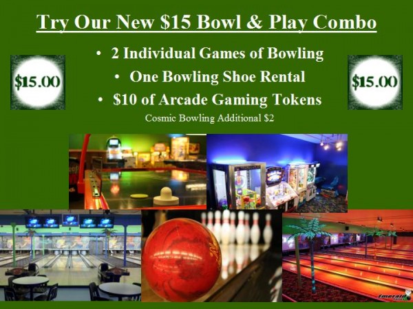 Bowl-Play combo at Emerald Lanes