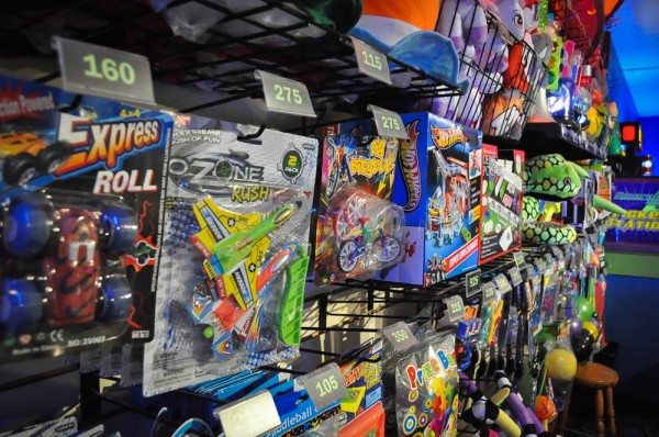 Arcade game prizes at Emerald Lanes