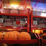 Shooting hoops at Emerald Lanes